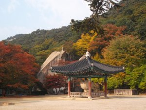 There is a wooden pavilion protecting a stone ancient relic, and behind it is a collection of green, yellow, and red trees, as well as a giant boulder. In the upper left you can see a partially clear sky.